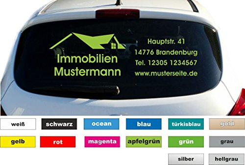 Immobilien Werbung Autobeschriftung Aufkleber Heckscheibe Fahrzeug Breite 80 cm