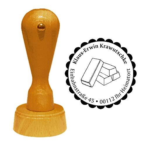 Stempel Adressstempel « GOLDBARREN » Durchmesser ca. Ø 40 mm – mit persönlicher Adresse und Motiv – Gold Edelmetall Luxus