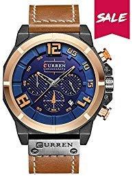 Wasserdicht Herren Armbanduhr Multifunktional Military Sport Armbanduhr Lederband mit Datumsanzeige 8287 Blau/Gelb
