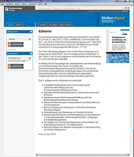 Kleiber digital: Online - Der Kommentar zur Grundstückswertermittlung von Wolfgang Kleiber