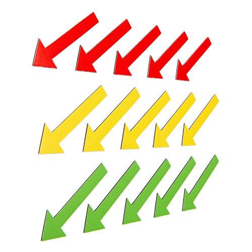 15 bunte Magnetpfeile (5 grüne Magnetpfeile / 5 gelbe Magnetpfeile / 5 rote Magnetpfeile) / 6 cm lang/z.B. für Sachverständige, Präsentationen, Projektarbeit, Unterricht.
