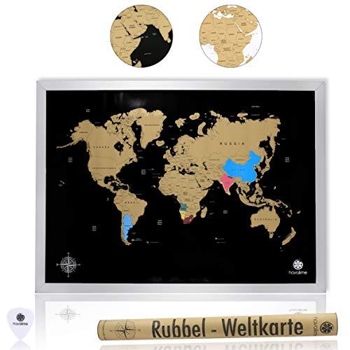 havalime Premium XXL Rubbel Weltkarte, Scratch World Map, Limited Edition, Geschenkidee für Reisende, 82 x 59 cm (Schwarz)