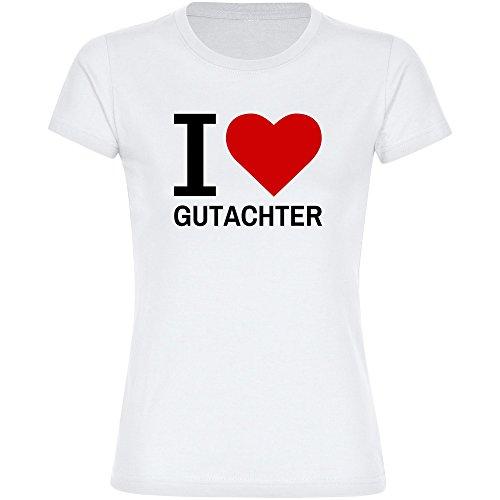 T-Shirt Classic I Love Gutachter weiß Damen Gr. S bis 2XL - Lustig Witzig Sprüche Party Funshirt, Größe:L