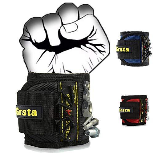 Grsta Magnetische Armbänder mit 15 leistungsstarken Magneten für Holding Werkzeuge, Schrauben, Nägel, Dübel, Bohrernn und kleinen Werkzeugen - Bestes Geschenk für DIY Heimwerker, Männer(Schwarz)