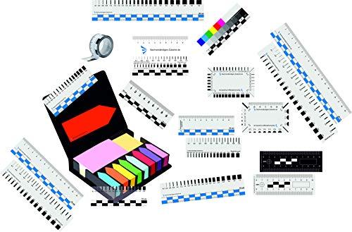 Sachverständigen Zubehör Paket mehrteilig | Fotomaßstab | Tatorlineal | Risslineal | Riss Karte | Magnet | Markierungsbox | Klebeband Markierungspfeil … (30)