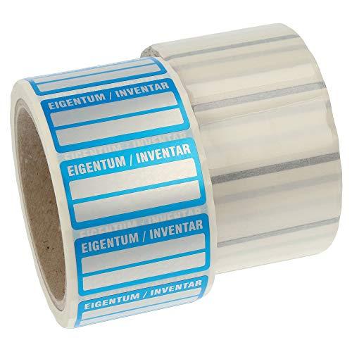 Labelident Inventaretiketten - Eigentum/Inventar - 51 x 25 mm - 500 Inventaraufkleber, silber, Polyester VOID-Effekt, permanent haftend