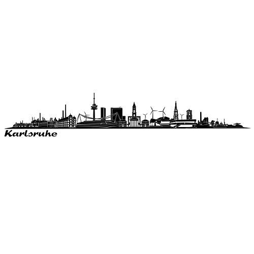 Wandkings Skyline - Deine Stadt wählbar - Karlsruhe - 125 x 18 cm - Wandaufkleber Wandsticker Wandtattoo